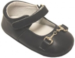 Girls Mocassin Leather w/ Chain-Black Lea